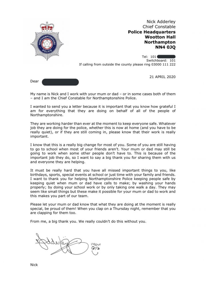 chief constable of northamptonshire police writes
