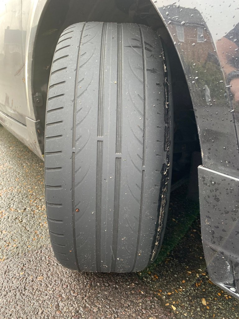 one tyre had its cord exposed after being stopped by the roads policing unit