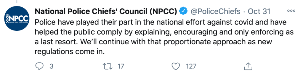 the National Police Chiefs' Council responded to the tweet