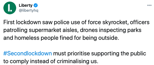 the tweet published by Liberty regarding police use of force