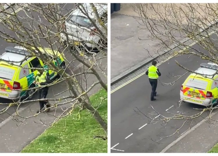 WATCH   Parking Warden Spotted Issuing A Rapid Response Vehicle With A Parking Ticket